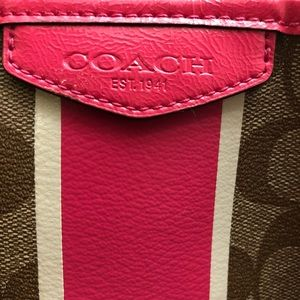 Coach Bags - COACH Signature Stripe Drawstring Carryall 30521